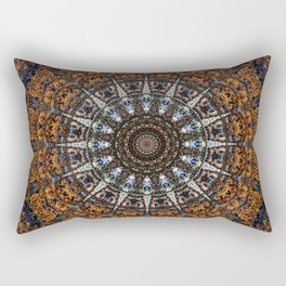 Vintage Wood Bohemian Mandala Rectangular Pillow