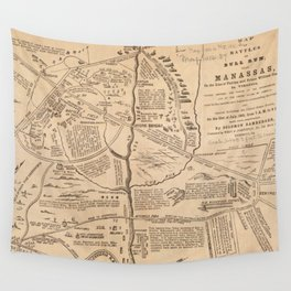 Vintage Map of The Battle of Bull Run (1861) Wall Tapestry