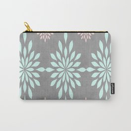 Coral & Turquoise Gray Textured Carry-All Pouch