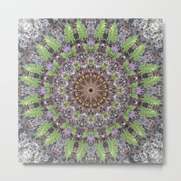 Natural elements in forest mandala Metal Print