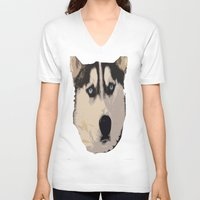 duvet cover V-neck T-shirts featuring DOG DUVET COVER by aztosaha