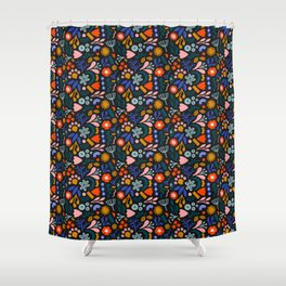 Abstract Botanical Dark Shower Curtain