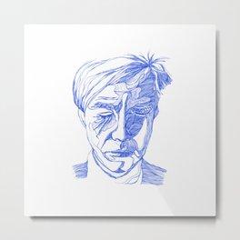 Andy portrait (Blue) Metal Print