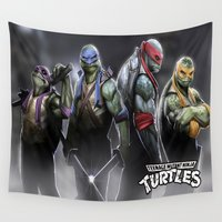 ninja turtles Wall Tapestries featuring ninja turtles  , ninja turtles  games, ninja turtles  blanket, ninja turtles  duvet cover by ira gora