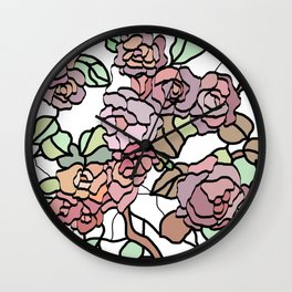 pattern of branches and roses 2 .  Pastel colors . Wall Clock