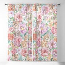 Kittens in flowers Sheer Curtain