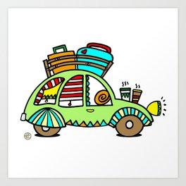 A Roadtrip with My Green Citroen 2CV! Art Print