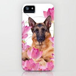 German Sheep Dog Lotos Field iPhone Case