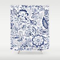 folk Shower Curtains featuring Folk Floral Indigo by Jacqueline Maldonado