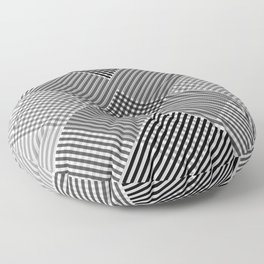 Minimal Abstract Triangles Geometry Black White Floor Pillow