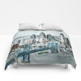 Philadelphia, Pennsylvania, USA Fine Art Acrylic Painting Comforters