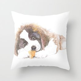 San Bernardo Puppy Throw Pillow