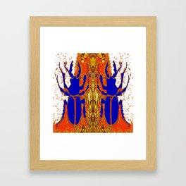 Lapis Blue Beetle on Gold Framed Art Print