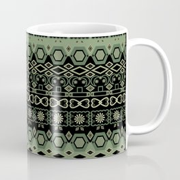 Colorful tribal green black ornament . Coffee Mug