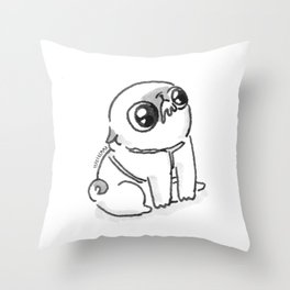 Mochi the pug begging Throw Pillow