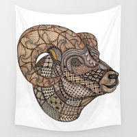 ram Wall Tapestries featuring Tangled Ram by Cherry Creative Designs