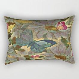 Painterly Flowers and Butterflies Rectangular Pillow