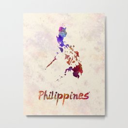 Philippines  in watercolor Metal Print