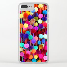 Rainbow Pom-poms (Vertical) Clear iPhone Case