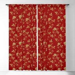 GOLDEN ROSE FLOWERS ON BURGUNDY Blackout Curtain