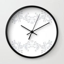 Grayish Blue White Floral Border Wall Clock