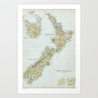 new zealand Art Prints featuring new zealand by cloudy day