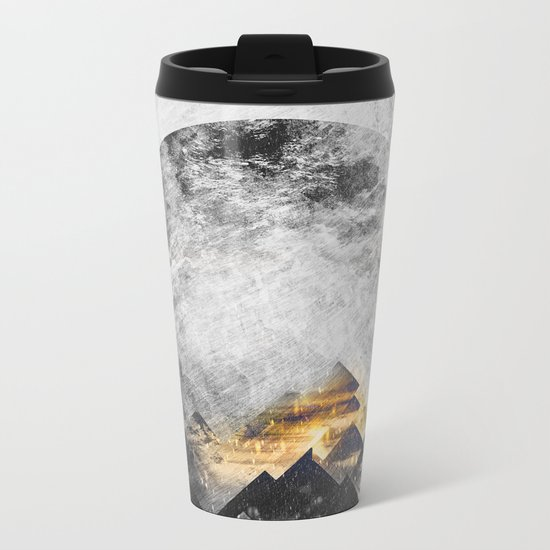 One mountain at a time - Black and white Metal Travel Mug