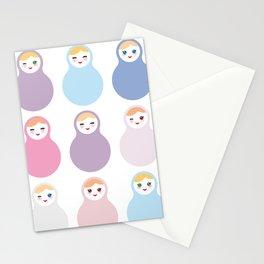 dolls matryoshka on white background, pastel colors Stationery Cards