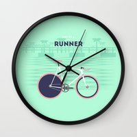 runner Wall Clocks featuring Runner by Cyclemon