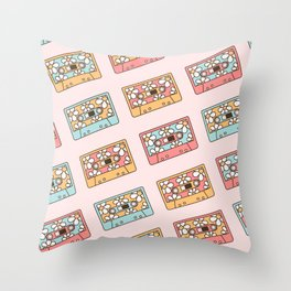 Retro Music Tapes, Vintage Audio Cassettes with Daisies, 80s 90s Nostalgia Pattern in Pastel Colors Throw Pillow