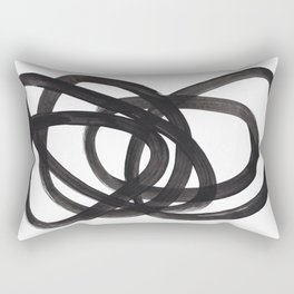 Black And White Minimalist Mid Century Abstract Ink Art Circle Swirls Black Circles Minimal Rectangular Pillow