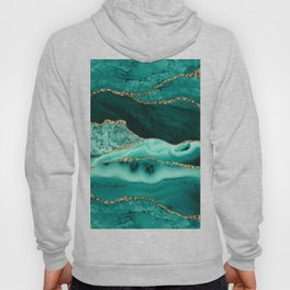 Ocean Waves Marble Emerald And Golden Hoody