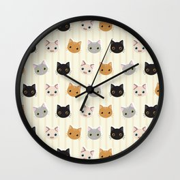 Cute Kitten & Stripes Pattern Wall Clock