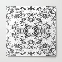 Monochrome Mirrored Black White Texture Metal Print