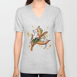 Yellow Heliconia and Cat Twins Unisex V-Neck