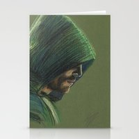 green arrow Stationery Cards featuring Green Arrow by xDontStopMeNow