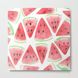 Watermelon slices pattern Metal Print
