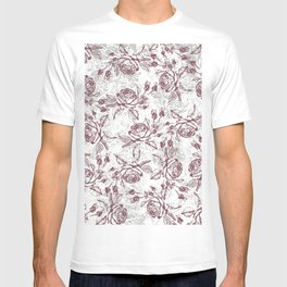 Vintage white gray burgundy floral marble T-shirt
