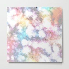 Blurred Rainbow Clouds: Faux Marble Pattern Metal Print