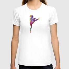 Woman boxer boxing kickboxing silhouette isolated 01 T-shirt