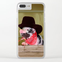 Puppy Cowboy Baby Piglet Farm Animals Babies Clear iPhone Case