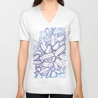 crystals V-neck T-shirts featuring Crystals by fossilized