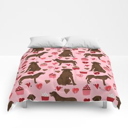 Chocolate Labrador Retriever valentines day cupcakes love hearts dog gifts labs Comforters