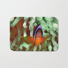 Clownfish in Pale Green Anemone Bath Mat