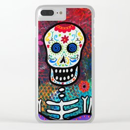 Mexican Dia de los Muertos Mariachi Painting Clear iPhone Case