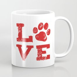 Love with Dog Paw Print Coffee Mug
