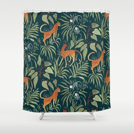 Exotic Shower Curtain Leopard Wild Cat on Tree Print for Bathroom