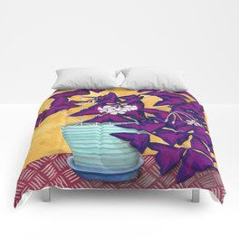 Purple Shamrock Houseplant Painting Comforters