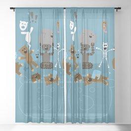 Crazy MonkeyTeddyBears Sheer Curtain