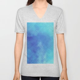Turquoise Seas Abstract Watercolor - Crosshatched Unisex V-Neck